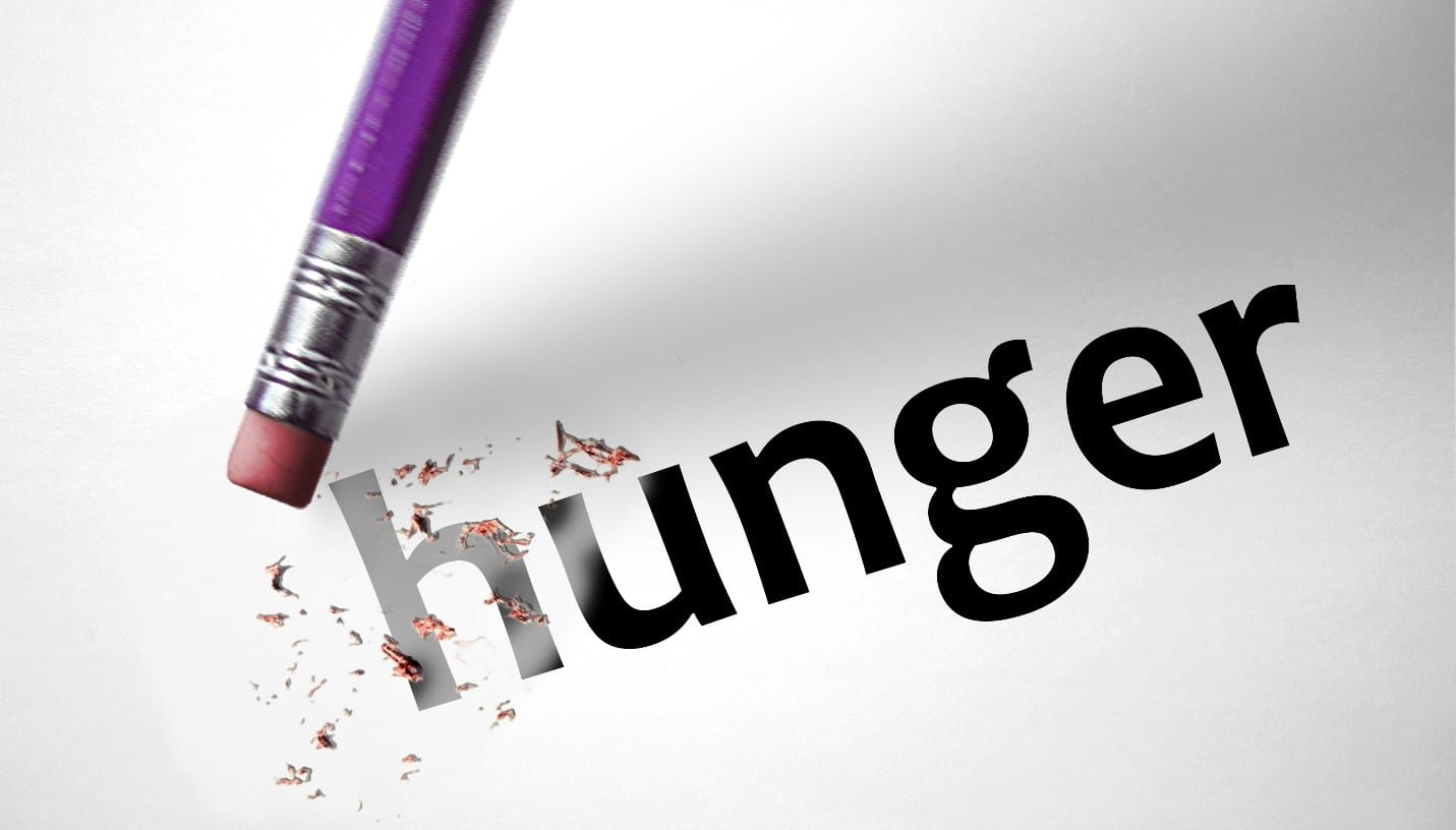 A pencil erasing the word hunger